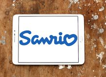 Sanrio company logo. Logo of Sanrio company on samsung tablet. Sanrio is a Japanese company that designs, licenses and produces products focusing on the kawaii stock images