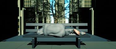Sans-abri sur un banc de ville photos stock