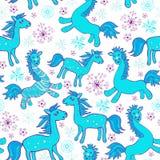 Sans couture avec des chevaux de bleu de bande dessinée Images libres de droits