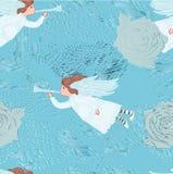 Sans couture bleu avec l'ange illustration de vecteur