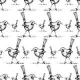 Sans couture du vecteur de modèle de dessin d'oiseau illustration libre de droits