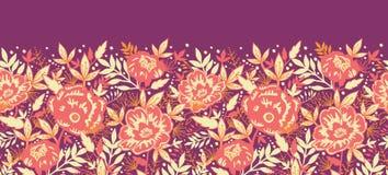 Sans couture horizontal d'or de fleurs et de feuilles Photo stock