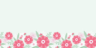 Sans couture horizontal de fleurs et de feuilles de pivoine Photo stock