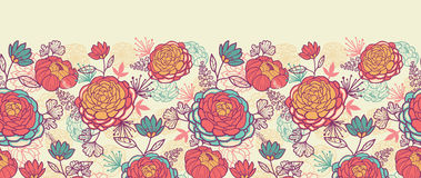 Sans couture horizontal de fleurs et de feuilles de pivoine Image stock