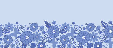 Sans couture horizontal de fleurs néerlandaises bleues de Delft Images stock