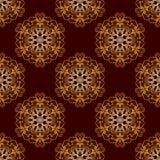 Or sans couture Mandala Pattern florale de vecteur Photos libres de droits
