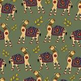 Sans couture traditionnel de Kalamkari de vecteur répété illustration stock