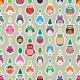 Sans couture vertical de symétrie d'autocollant de couleur de hibou Photographie stock libre de droits
