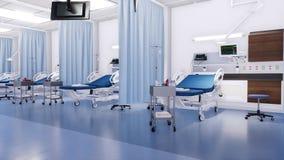 Sans des lits d'hôpital de personnes dans la chambre de secours 3D banque de vidéos