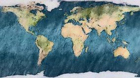 Sans fin sans couture de planète carte en pastel de la terre arrêt l'animation de bande dessinée de mouvement - vintage fait main illustration libre de droits