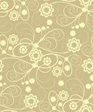 Sans joint avec les fleurs beiges illustration stock