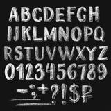 Sans serif chalk roman alphabet stock illustration