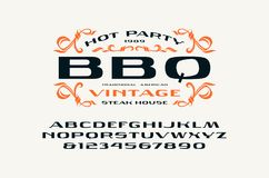 Sans serif extended font and barbecue label Stock Photography