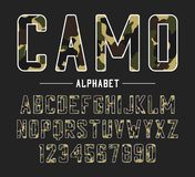 Sans serif font with camouflage texture. Condensed bold typeface, high alphabet with numbers in military and army style. Vector. Sans serif font with camouflage royalty free illustration