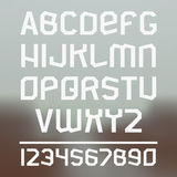 Sans serif font. Font and numeral on blurred background Stock Photo