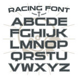 Sans serif font in retro racing style Royalty Free Stock Images
