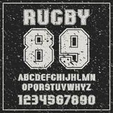 Sans serif font Rugby team with the contours and shabby texture Stock Image