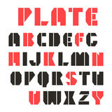 Sans serif stencil-plate font and numeral Royalty Free Stock Image