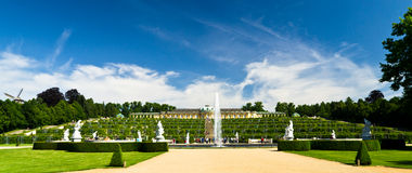 Sans Souci. Palace panoram with grapes, fountain and sculptures Stock Image