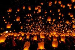 SANSAI, CHIANGMAI TAJLANDIA, NOV, - 14: Yee Peng festiwal, Loy Kra Fotografia Royalty Free