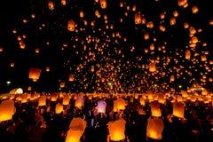 SANSAI, CHIANGMAI TAJLANDIA, NOV, - 14: Yee Peng festiwal, Loy Kra Obrazy Royalty Free