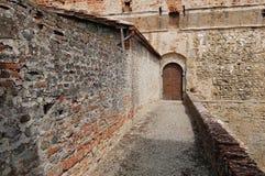 Entrance gate of medieval castle Castello Mediceo. Sansepolcro, Italy - August, 31st, 2017. Entrance gate of medieval castle Castello Mediceo Royalty Free Stock Image