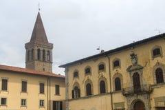 Sansepolcro (Tuscany, Italy). Sansepolcro (Arezzo, Tuscany, Italy): historic buildings: palaces and tower Royalty Free Stock Image