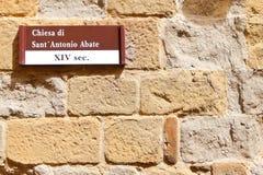 SANSEPOLCRO, W?OCHY Fasada ko?ci?? katolickiego Chiesa Di Sant ` Antonio Os?abia obraz stock