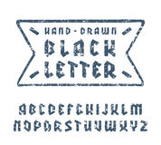 Sanserif font in black letter style with hand-drawn soft shape Stock Photo