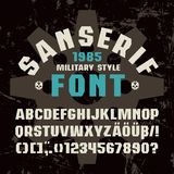 Sanserif font in military style. Bold face stock illustration