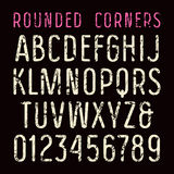 Sanserif font with rounded corners. Typeface in thin line style with shabby texture. Print on black background Stock Images