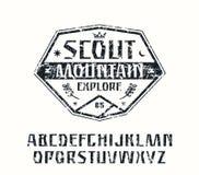 Sanserif font and scout emblem Stock Images