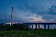 Sanset of the bridge Stock Image
