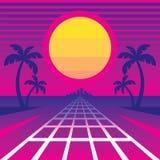 Sanset e modo tropicali alla città - illustrazione di vettore di concetto nel retro stile degli anni 80 di musica dell'onda dello illustrazione vettoriale