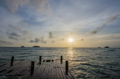 A sanset at koh chang sea,Bridge to the sea Stock Photo