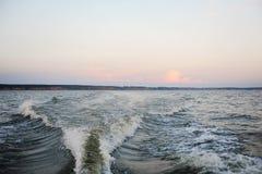 Sanset na Volga rzece Obrazy Stock