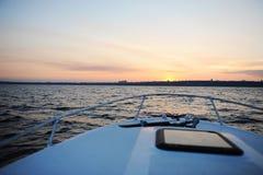 Sanset sul fiume Volga Fotografia Stock Libera da Diritti