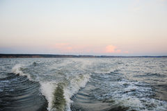 Sanset on the Volga river Stock Images