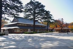 Sanshuden or Assembly Hall at Yasukuni Shrine. Sanshuden or Assembly Hall located on the right side of haiden, was rebuilt in 2004 stock photography
