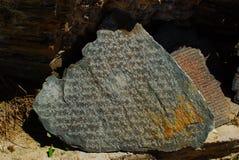 Sanskrit sulla pietra Fotografia Stock