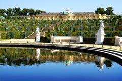 Sanssouci宫殿在波茨坦,德国。 库存图片