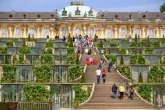 Sanssouci. POTSDAM GERMANY MAY 22: Sanssouci is the name of the former summer palace of Frederick the Great, King of Prussia, in Potsdam, near Berlin, Germany on Royalty Free Stock Images