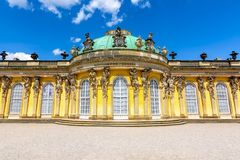 Sanssouci palace facade in Potsdam, Germany royalty free stock photos