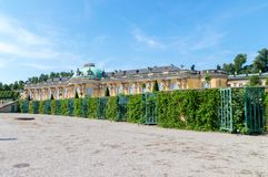 Sanssouci Palace, the former summer palace of Frederick the Great, King of Prussia, in Potsdam, Germany. royalty free stock photography