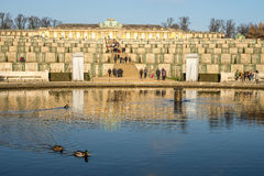 Sanssouci Palace. A park around the Sanssouci Palace in Potsdam Germany is full of villas, palaces and other royal buildings. It is a perfect place for a trip Royalty Free Stock Photo