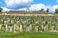 Sanssouci palace and park in spring, Potsdam, Germany royalty free stock image