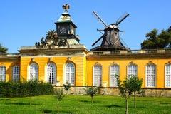 The Sanssouci palace in Potsdam, Germany. Landscape with Sanssouci palace in Potsdam, Germany stock photo