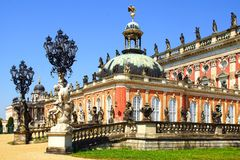 The Sanssouci palace in Potsdam, Germany. Landscape with Sanssouci palace in Potsdam, Germany royalty free stock images