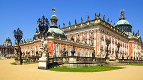 The Sanssouci palace in Potsdam, Germany. Landscape with Sanssouci palace in Potsdam, Germany Stock Photos