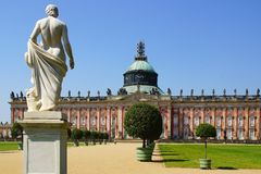 The Sanssouci palace in Potsdam, Germany. Landscape with Sanssouci palace in Potsdam, Germany royalty free stock photos